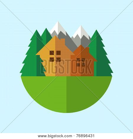 Flat Style Eco House Badge With Mountains And Trees. Vector Logo Template. Design Concept For Real E