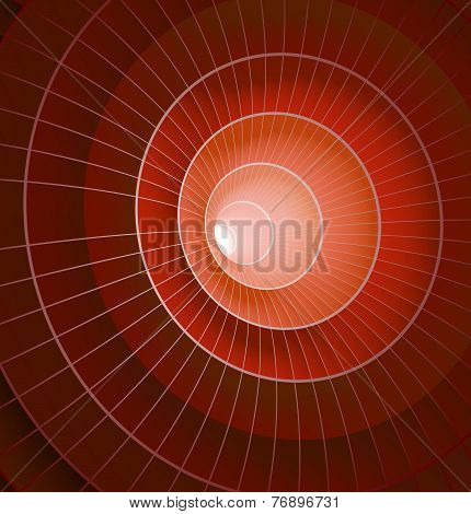 Abstract 3d red spiral tunnel