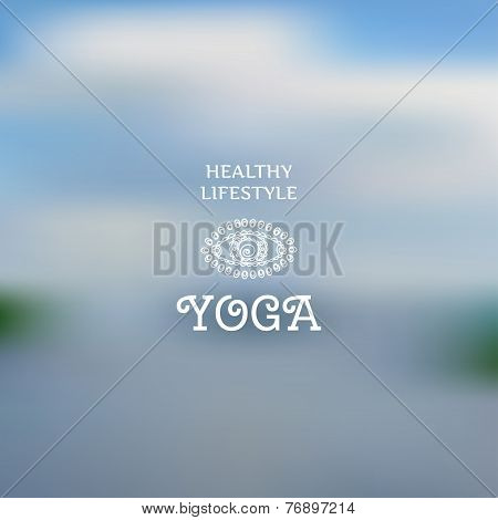 Blurred Background And A Symbolic Eye In The Style Of Indian Yoga