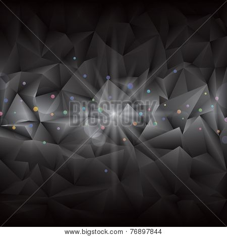 Abstract luxury gems shape black geometric background.