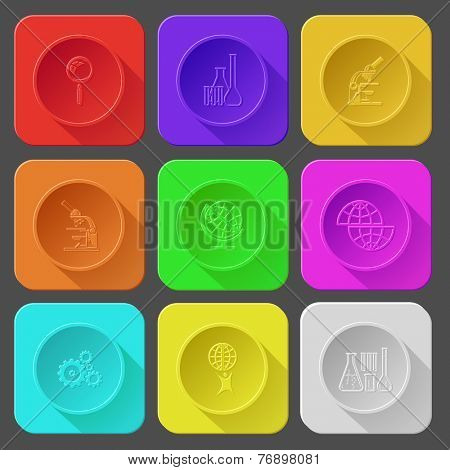 magnifying glass, chemical test tubes, lab microscope, shift globe, gears, little man with globe. Color set vector icons.