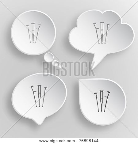 Crutches. White flat vector buttons on gray background.