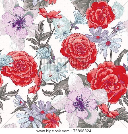 Colorful seamless floral pattern with wildflowers