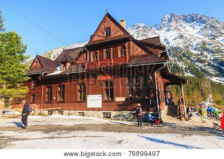 Morskie Oko Lake, Poland - March 14: Mountain Shelter House In Tatra Mountains