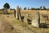 stock photo of megaliths  - Mysterious megalithic Tiya stone pillars - JPG