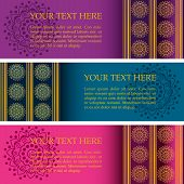 stock photo of indian blue  - Set of 3 colorful traditional Indian henna mandala banners with space for text - JPG