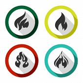stock photo of flames  - Fire flames set flat icons with reflection on a circle - JPG