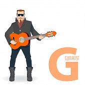 Постер, плакат: flat vector profession Letter G guitarist