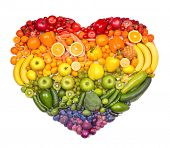 stock photo of exotic_food  - Rainbow heart of fruits and vegetables - JPG