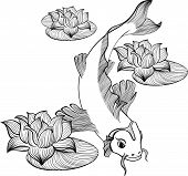 foto of koi tattoo  - Koi fish with three flowers of lotus created in Line Art - JPG