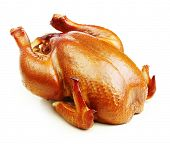 image of spit-roast  - Roast chicken isolated on white background - JPG