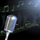 picture of groupies  - Image of a retro microphone with musical notes and crowd in the background - JPG