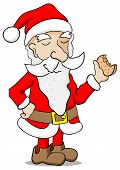 picture of nibbling  - vector illustration of a santa claus nibbling a biscuit - JPG
