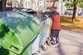 picture of dumpster  - Homeless woman is searching for food in garbage dumpster - JPG