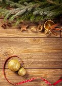 stock photo of christmas spices  - Christmas decoration wooden background - JPG