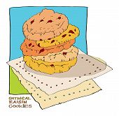 pic of baked raisin cookies  - some oatmeal cookies with raisins lie on a napkin - JPG