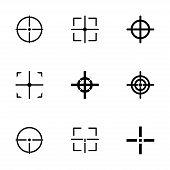 picture of crosshair  - Vector black crosshair icon set on white background - JPG