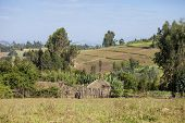 picture of ethiopia  - houses and farms in the mountains of Ethiopia - JPG