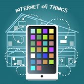 stock photo of household  - Simple Internet of Things Concept Graphic Design with Smart Phone Connecting Various Home Devices on Blue Green Background - JPG