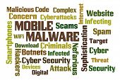 stock photo of maliciousness  - Mobile Malware word cloud on white background - JPG