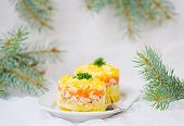 picture of mimosa  - traditional Russian vegetable salad with a salmon Mimosa - JPG