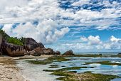 Fascinating Seascape at Anse Source d'Argent at La Digue Island, Seychelles. An Enchanting Destination for Holiday Vacation. poster