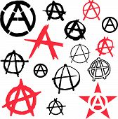 pic of anarchists  - Anarchy politic symbol icon vector illustration grunge - JPG