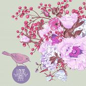 picture of mimosa  - Gentle Spring Floral Bouquet with Birds - JPG