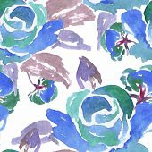 pic of blue rose  - Beautiful Blue Watercolor Rose Floral Seamless Pattern Background - JPG