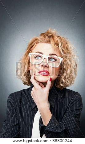 Woman with expression face thinking