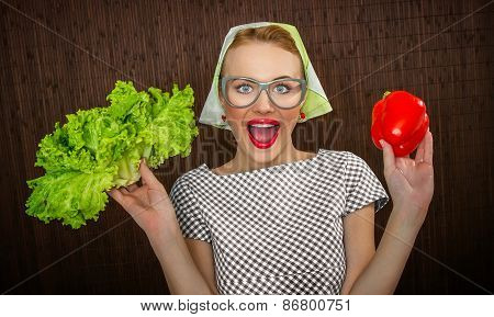 Funny Woman Cook Holding Salad And Pepper, Close Up Of A Housewife