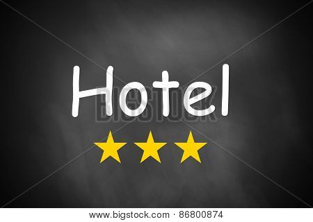 Hand Writing Hotel On Black Chalkboard Three Stars
