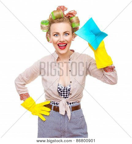 Funny Young Cheerful Housewife With Gloves Holding Rag / Wipe, Isolated On White. Pin-up Girl