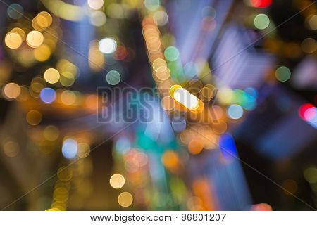 Bokeh of Bangkok skyline after sunset, Blurred defocused