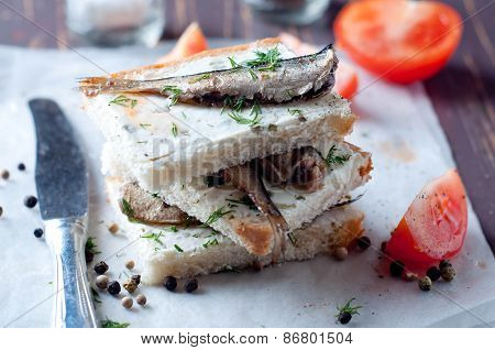 Sandwich, Tapas With Sardines