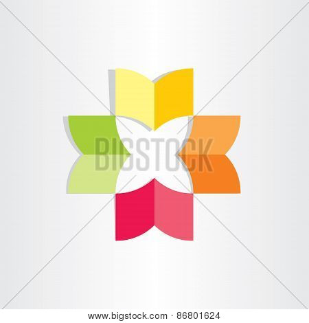 Books In Circle Abstract Flower Design