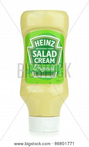 A bottle of Heinz salad cream