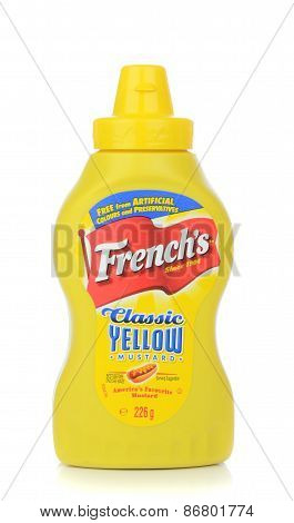 A bottle of French's American hotdog mustard