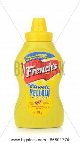 A bottle of French's American hotdog mustard