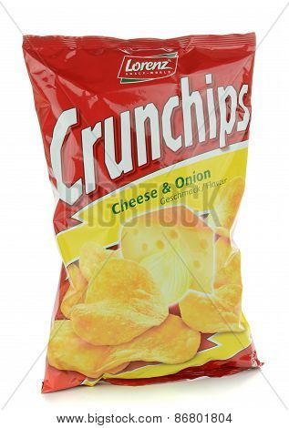A bag of Lorenz Crunchips cheese and onion crisps