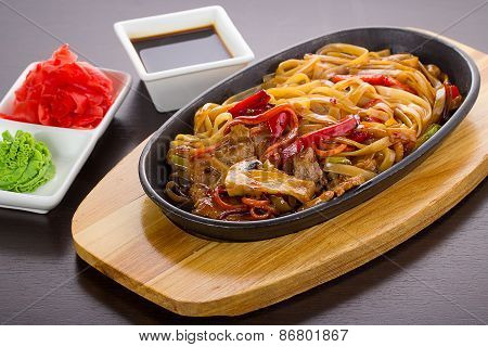 Udon (thick Wheat Noodles) With Meat And Vegetables