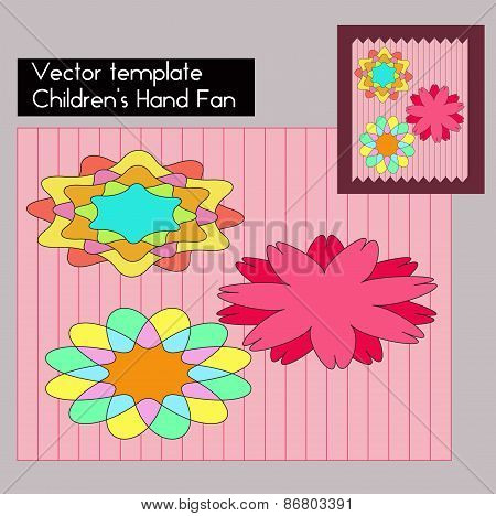 Children's Hand Fan Template. Vector Illustration