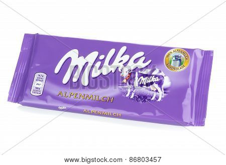 A bar of Milka Mondelez Alpenmilch milk chocolate