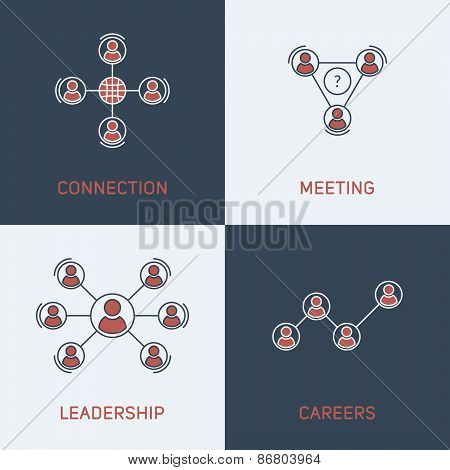 Set Of Modern Vector Thin Line Icons. Connection, Meeting, Leadership, Careers