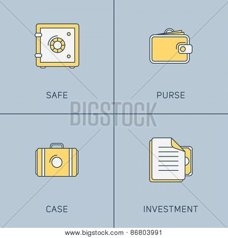 Set Of Modern Vector Thin Line Icons. Safe, Purse, Case, Investment