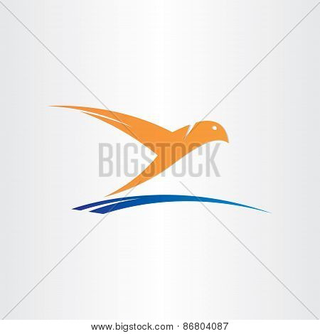 Bird Flying Over Water Abstract Symbol