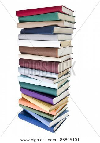 Pile of Books with different colors isolated on white background