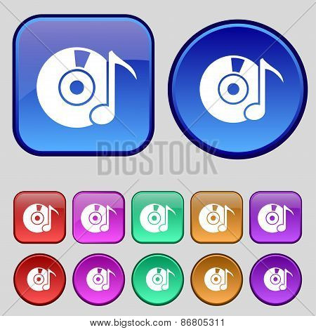 Cd Or Dvd Icon Sign. A Set Of Twelve Vintage Buttons For Your Design. Vector