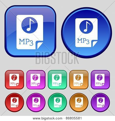 Audio, Mp3 File Icon Sign. A Set Of Twelve Vintage Buttons For Your Design. Vector