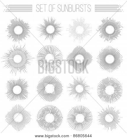 Set of sunbusrt geometric shapes stars and light ray